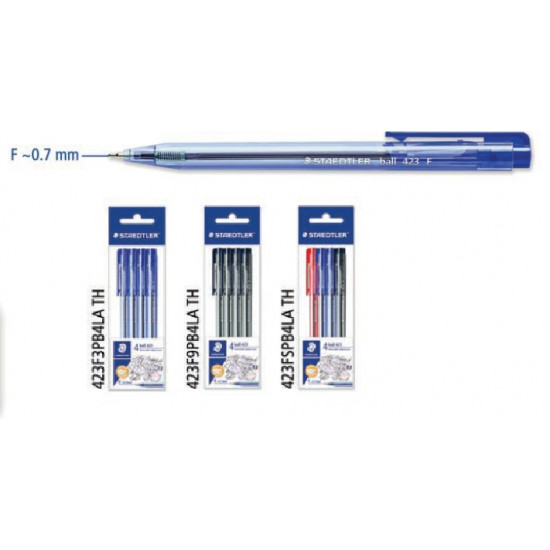 Retractable Ballpoint Pen, F ~0.7mm in PB (Pack of 4) Blue