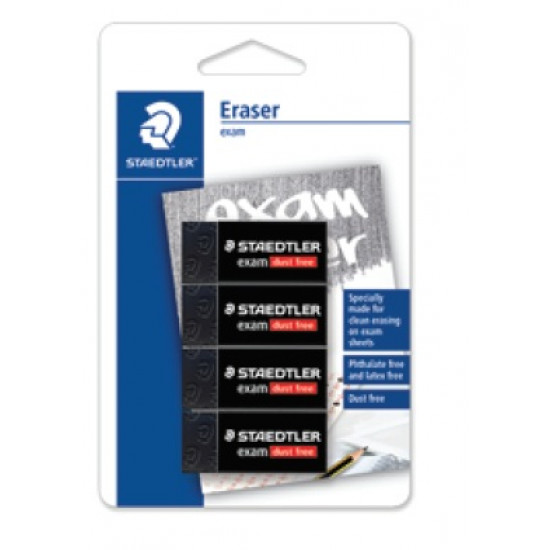 Eraser - Exam 43x19x13mm in BK (Pack of 4)