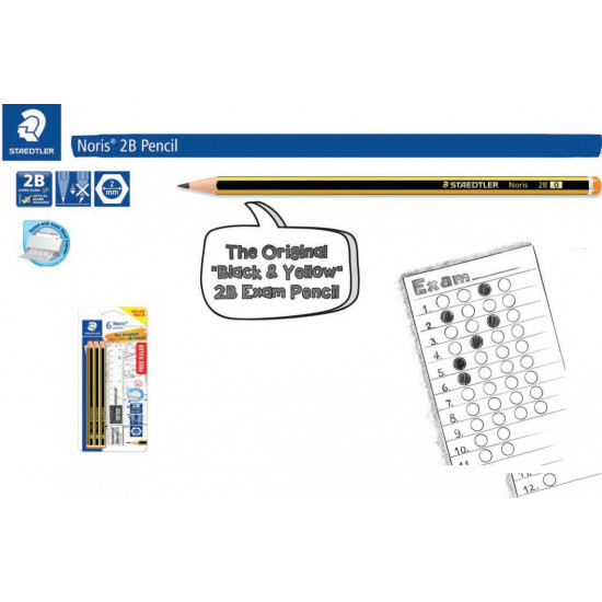 Noris 2B 6's +Sharp +Eraser +Ruller FSC 100%