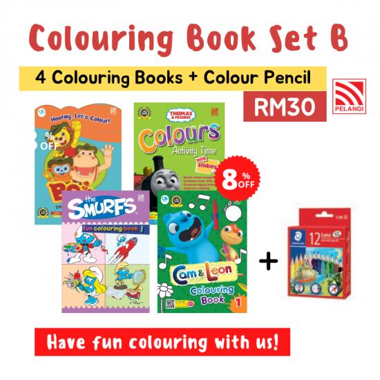 Colouring Book Set + Colour Pencil